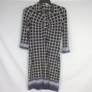 Laundry Shelli Segal Dress Black White 3/4 Sleeve